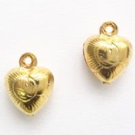 30 Gold plated 9x7mm Puffy Heart Charms